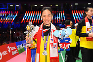 BANGKOK, THAILAND - MAY 26: Nitchaon Jindapol of Thailand celebrate on Court 1 with their gold medals after the Medals Presentation at the BWF Total Thomas and Uber Cup Finals 2018, Impact Arena, Bangkok, Thailand on May 26, 2018.<br /> .<br /> .<br /> .<br /> (Photo by: Naratip Golf Srisupab/SEALs Sports Images)<br /> .<br /> Any image use must include a mandatory credit line adjacent to the content which should read: Naratip Golf Srisupab/SEALs Sports Images