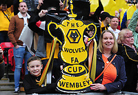 Football - 2018 / 2019 Emirates FA Cup - Semi-Final: Wolverhampton Wanderers vs. Watford<br /> <br /> Wolves fans with their FA Cup trophy cardboard cut out, at Wembley Stadium.<br /> <br /> COLORSPORT/ANDREW COWIE