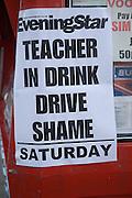 Saturday Evening Star newspaper headline Teacher in Drink Driving Shame, Ipswich, Suffolk, England