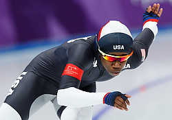 February 18, 2018 - Gangneung, South Korea - Speed skater Erin Jackson of USA competes during the Ladies Speed Skating 500M finals at the PyeongChang 2018 Winter Olympic Games at Gangneung Oval on Sunday February 18, 2018. (Credit Image: © Paul Kitagaki Jr. via ZUMA Wire)