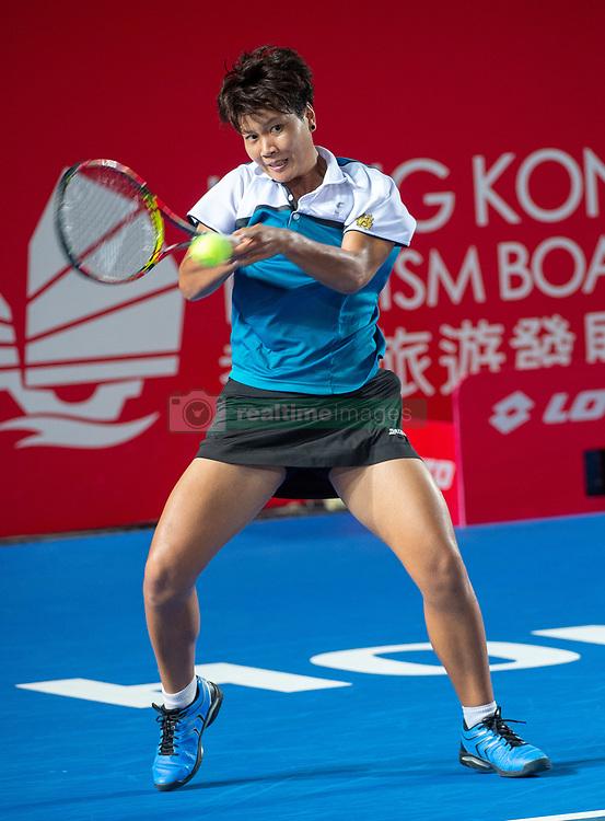 October 12, 2018 - Hong Kong, Hong Kong SAR, China - Garbiñe Muguruza of Spain beats Luksika Kumkhum (pictured) of Thailand to proceed to the semi-finals of the Hong Kong Tennis Open in Victoria Park Hong Kong. Muguruza took 2 sets 6-2,7-5 to win in 1 hour 45 mins. (Credit Image: © Jayne Russell/ZUMA Wire)