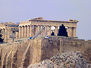 The Acropolis of Athens is an ancient citadel located on a high rocky outcrop above the city of Athens and containing the remains of several ancient buildings of great architectural and historic significance, the most famous being the Parthenon.