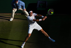 July 11, 2018 - London, England, U.S. - LONDON, ENG - JULY 11: MILOS RAONIC (CAN) during day nine match of the 2018 Wimbledon on July 11, 2018, at All England Lawn Tennis and Croquet Club in London,England. (Photo by Chaz Niell/Icon Sportswire) (Credit Image: © Chaz Niell/Icon SMI via ZUMA Press)
