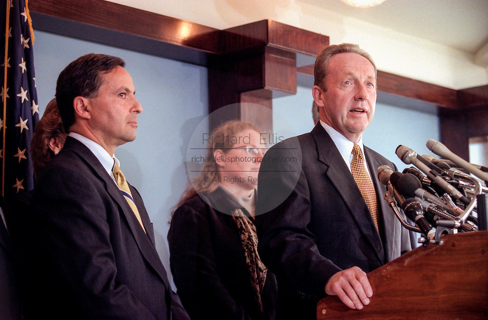 Pennsylvania Attorney General Mike Fisher with other state attorneys general discusses a $206 billion settlement with tobacco companies November 16, 1998 in Washington, DC.