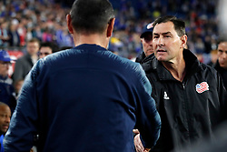May 15, 2019 - Foxborough, MA, U.S. - FOXBOROUGH, MA - MAY 15: New England Revolution interim head coach Mike Lapper greets Chelsea FC head coach Maurizio Sarri before the Final Whistle on Hate match between the New England Revolution and Chelsea Football Club on May 15, 2019, at Gillette Stadium in Foxborough, Massachusetts. (Photo by Fred Kfoury III/Icon Sportswire) (Credit Image: © Fred Kfoury Iii/Icon SMI via ZUMA Press)