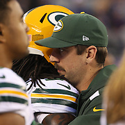 Packers injured quarterback Aaron Roger on the sideline during the New York Giants Vs Green Bay Packers, NFL American Football match at MetLife Stadium, East Rutherford, New Jersey, USA. 17th November 2013. Photo Tim Clayton