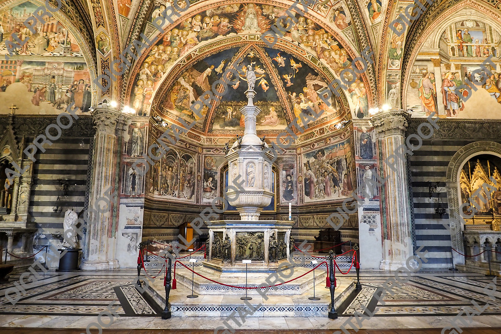 Interior of the Baptistery San Giovanni in Siena Italy