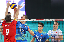 Pieter Verhees of Belgium vs Tine Urnaut of Slovenia during volleyball match between National teams of Slovenia and Belgium in 2nd Round of 2018 FIVB Volleyball Men's World Championship qualification, on May 28, 2017 in Arena Stozice, Ljubljana, Slovenia. Photo by Morgan Kristan / Sportida
