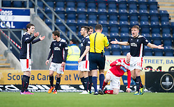 Falkirk's players at Ref John McKendrick after he gave Brechin City a penalty. <br /> Falkirk 2 v 1 Brechin City, Scottish Cup fifth round game played today at The Falkirk Stadium.