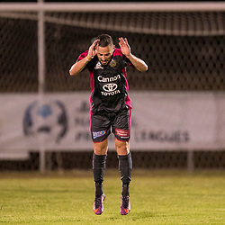 ADELAIDE, AUSTRALIA - SEPTEMBER 30: Adrian Zahra of Heidelberg celebrates scoring a goal during the Playstation 4 NPL National Grand Final match between Brisbane Strikers and Heidelberg United on September 30, 2017 in Brisbane, Australia. (Photo by Patrick Kearney)