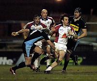 Photo: Jed Wee.<br /> Leeds Tykes v Bristol Rugby. Guinness Premiership. 10/02/2006.<br /> <br /> Bristol's Bernardo Stortoni (R) tries to break.