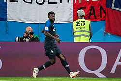 July 10, 2018 - St Petersburg, Russia - 180710 Samuel Umtiti celebrates scoring 1-0 during the FIFA World Cup semi final match between France and Belgium on July 10, 2018 in ST Petersburg..Photo: Petter Arvidson / BILDBYRÃ…N / kod PA / 92084 (Credit Image: © Petter Arvidson/Bildbyran via ZUMA Press)