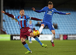 Harry Beautyman of Peterborough United in action with Jack King of Scunthorpe United - Mandatory byline: Joe Dent/JMP - 07966 386802 - 28/11/2015 - FOOTBALL - Glanford Park - Scunthorpe, England - Scunthorpe United v Peterborough United - Sky Bet League One