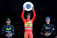 Podium VALVERDE Alejandro (ESP), CONTADOR Alberto (ESP) Red Leader Jersey, FROOME Christopher (GBR) during the 69th Tour of Spain UCI World Tour, Vuelta 2014, Stage 21, Time Trial, Santiago De Compostela - Santiago De Compostela El Final Del Camino (9,7km) on September 14, 2014. Photo Tim de Waele / DPPI