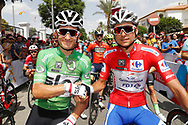 Start, Michal Kwiatkowski (POL - Team Sky) Green jersey, Rudy Molard (FRA - Groupama - FDJ) Red jersey, during the UCI World Tour, Tour of Spain (Vuelta) 2018, Stage 6, Huercal Overa - San Javier Mar Menor 155,7 km in Spain, on August 30th, 2018 - Photo Luis Angel Gomez / BettiniPhoto / ProSportsImages / DPPI