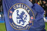 a Giant Chelsea flag is waved before k/o. Premier league match, Chelsea v Arsenal at Stamford Bridge in London on Saturday 4th February 2017.<br /> pic by John Patrick Fletcher, Andrew Orchard sports photography.