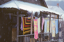 Laundry Hanging Outside In Winter