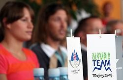 Slovenia Olympic Team (L Sara Isakovic and Luka Spik) at departure to Beijing 2008 Olympic games, on July 31, 2008, at Airport Jozeta Pucnika, Brnik, Slovenia. (Photo by Vid Ponikvar / Sportal Images)/ Sportida)