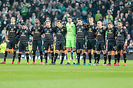 Celtic players during the minute of silence before the Champions League match between Manchester City and Celtic at the Etihad Stadium, Manchester, England on 6 December 2016. Photo by Mark P Doherty.