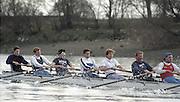 London. England, Old Blue 2. Ben HUNT DAVIS, 4, Cal MACLENNAN, 5. Jonny SEARLE, 6 Matt PINSENT, 7. Pete BRIDGE stroke Rupert OBHOLZER.Oxford University BC, Pre Boat Race Fixture, Oxford University vs Old Blue's eight. River Thames, Putney.<br /> <br /> [Mandatory Credit;Peter SPURRIER/Intersport Images]