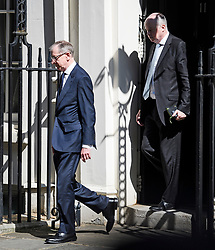 © Licensed to London News Pictures. 24/05/2019. London, UK. PILIP MAY, (left) husband of British Prime Minister Theresa May, and Downing Street Director of Communications ROBBIE GIBB (right) arrive on Downing Street to watch a resignation statement by PM Theresa May. The Prime Minister was under huge pressure to quit over her handing of negotiations for the UK's exit from the European Union. Photo credit: Ben Cawthra/LNP