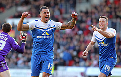 Peterborough United's Kyle Vassell celebrates after creating the second goal for goalscorer Conor Washington (right) - Photo mandatory by-line: Joe Dent/JMP - Mobile: 07966 386802 - 14/03/2015 - SPORT - Football - Doncaster - Keepmoat Stadium - Doncaster Rovers v Peterborough United - Sky Bet League One