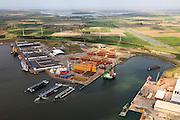 Nederland, Zeeland, Gemeente Vlissingen, 09-05-2013; Sloegebied (Vlissingen-Oost), Westhofhaven en Bijlveldhaven (li). Veerse Meer aan de horizon.<br /> luchtfoto (toeslag op standard tarieven);<br /> aerial photo (additional fee required);<br /> copyright foto/photo Siebe Swart.