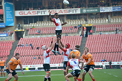Johannesburg 08-09-18 2nd half. Hacjivah Dayimani is lifted by team mates Marvin Orie (capt) during a line out. Rugby Currie Cup match between the Xerox Golden Lions vs Toyota Free State Cheetahs at Emirates Airline Park. Picture: Karen Sandison/African News Agency(ANA)