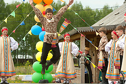 stock photo of a boy jumping in russia