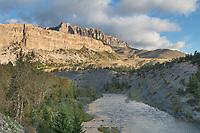 Sun River cutting through Sun Canyon, Castle Reef Mountain inn the distance. Rocky Mountain front ranges near Augusta Montana