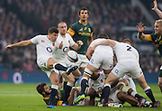 """Twickenham, United Kingdom.  Ben YOUNGS, """"kicking clear"""", Old Mutual Wealth Series: England vs South Africa, at the RFU Stadium, Twickenham, England, Saturday, 12.11.2016<br /> <br /> [Mandatory Credit; Peter Spurrier/Intersport-images]"""