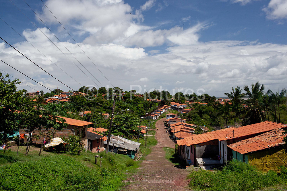 Houses in Alcantara on 27th May 2014, Maranhao, Brazil. It is an island off the north east coast of Brazil close to Sao Luis, state capital of, and is one of the largest Quilombos in Brazil, which are communities that were originally set up by escaped or freed slaves during the colonial period.