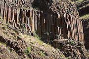 Basaltic columns rise in cliffs along Dug Bar Road, in Hells Canyon National Recreation Area, north of Imnaha, Oregon, USA.