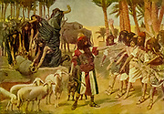 """MOSES DEFENDS JETHRO'S DAUGHTERS. — Ex. ii: 17, 18. """"And the shepherds came and drove them away: but Moses stood up and helped them, and watered their flock. And when they came to Reuel their father, he said, How is it that ye are come so soon to day."""" From the book ' The Old Testament : three hundred and ninety-six compositions illustrating the Old Testament ' Part I by J. James Tissot Published by M. de Brunoff in Paris, London and New York in 1904"""