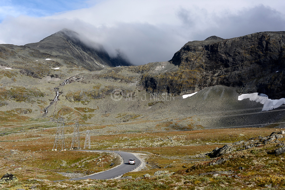 Tindevegen, a scenic road passing through the mountain landscape between Årdal and Luster (Vestland, Norway).