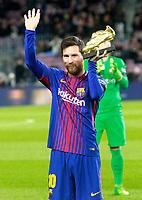 FC Barcelona's Leo Messi show the golden shoe before La Liga match. December 17,2016. (ALTERPHOTOS/Acero)
