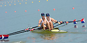 Chungju, South Korea  USA W2X, Bow, Meghan O'LEARY and Ellen TOMEK, move away from the start at the 2013 FISA World Rowing Championships,  at the Tangeum Lake International Regatta Course. 11:24:05  Monday  26/08/2013 [Mandatory Credit. Peter Spurrier/Intersport Images]