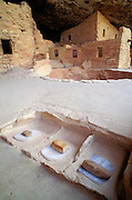 Grinding stones and kiva, Spruce Tree House Ruin, Mesa Verde National Park, Colorado USA