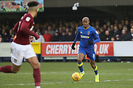 AFC Wimbledon midfielder Jimmy Abdou (8) dribbling and trying to start an attack during the EFL Sky Bet League 1 match between AFC Wimbledon and Northampton Town at the Cherry Red Records Stadium, Kingston, England on 10 February 2018. Picture by Matthew Redman.
