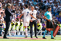 Real Madrid's player Cristiano Ronaldo and coach Zinedine Zidane during a match of La Liga Santander at Santiago Bernabeu Stadium in Madrid. September 10, Spain. 2016. (ALTERPHOTOS/BorjaB.Hojas)