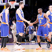 12 March 2015: New York Knicks guard Alexey Shved (1), New York Knicks center Andrea Bargnani (77), New York Knicks guard Langston Galloway (2), New York Knicks forward Lou Amundson (21) are seen during the New York Knicks 101-94 victory over the Los Angeles Lakers, at the Staples Center, Los Angeles, California, USA.