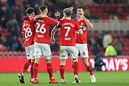 Middlesbrough midfielder Lewis Wing (26) celebrates with Middlesbrough midfielder Marcus Tavernier (28) Middlesbrough midfielder Grant Leadbitter (7) and Middlesbrough defender Daniel Ayala (4) after scoring his team's third goal during The FA Cup 3rd round match between Middlesbrough and Peterborough United at the Riverside Stadium, Middlesbrough, England on 5 January 2019.