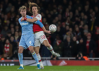 Football - 2019 /2020 FA Cup - Third Round: Arsenal vs. Leeds United.<br /> <br /> David Luiz (Arsenal FC) has arms around former Chelsea colleague Patrick Bamford (Leeds United) <br /> at the Emirates Stadium<br /> <br /> COLORSPORT/DANIEL BEARHAM