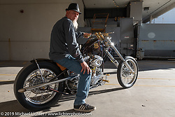 Tim Scates with his Root 66 custom 1952 Harley-Davidson chopper at the Handbuilt Show. Austin, Austin USA. Sunday, April 14, 2019. Photography ©2019 Michael Lichter.