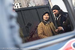 "Takemitsu ""Taku"" Yashiro and El Solitario's David Borras on Taka's Blue Groove shop ride from Kamakura to Miura Penninsula. Japan. Monday December 4, 2017. Photography ©2017 Michael Lichter."
