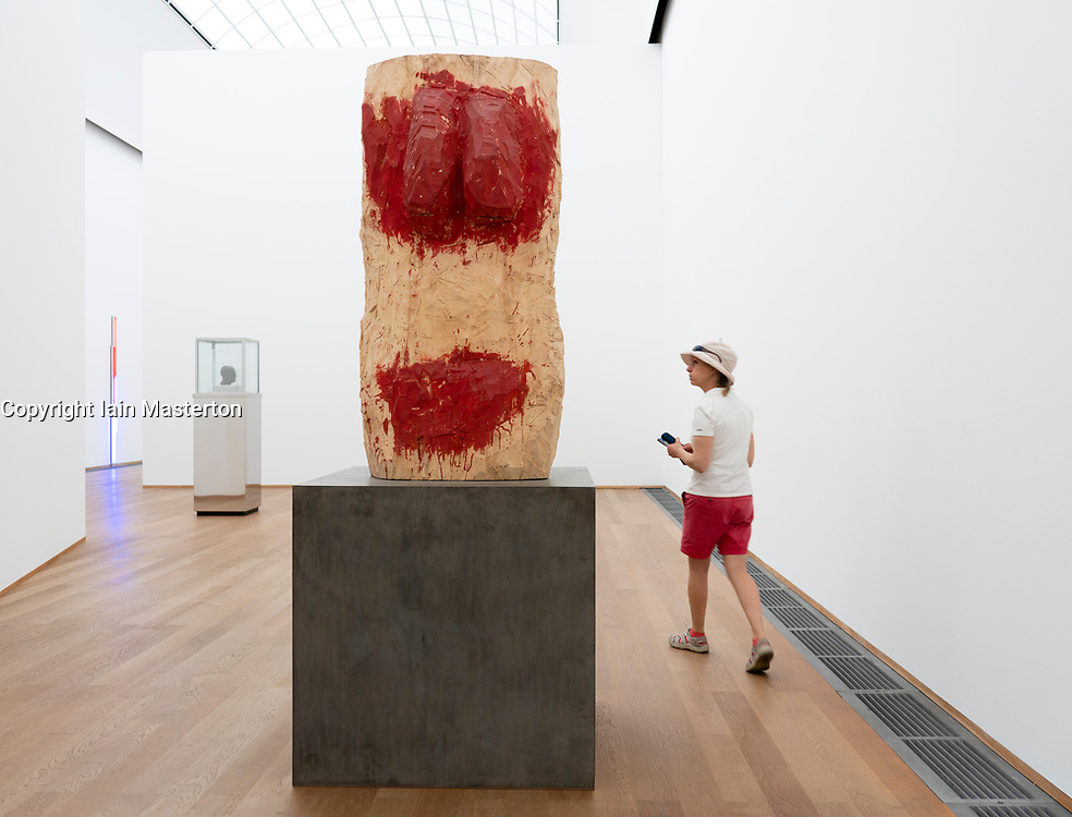 Sculpture Mannlicher Torso ( Male Torso) by Georg Baselitz at Hamburger Bahnhof art museum in Berlin, Germany .Editorial Use Only.