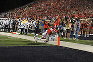 Mississippi Rebels running back Jordan Wilkins (22) is stopped short of the goal by Vanderbilt Commodores cornerback Torren McGaster (5) at Vaught-Hemingway Stadium at Ole Miss in Oxford, Miss. on Saturday, September 26, 2015. (AP Photo/Oxford Eagle, Bruce Newman)