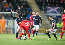 Falkirk's Rory Loy and Rangers Kyle Hutton. Falkirk 1 v 1 Rangers, Scottish Championship game played 27/2/2014 at The Falkirk Stadium .