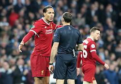 Liverpool's Virgil van Dijk appeals a decision with Referee Antonio Miguel Mateu Lahoz during the UEFA Champions League, Quarter Final at the Etihad Stadium, Manchester.