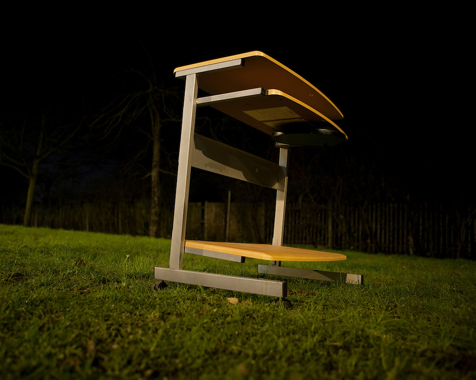 Discarded Computer Table at Night